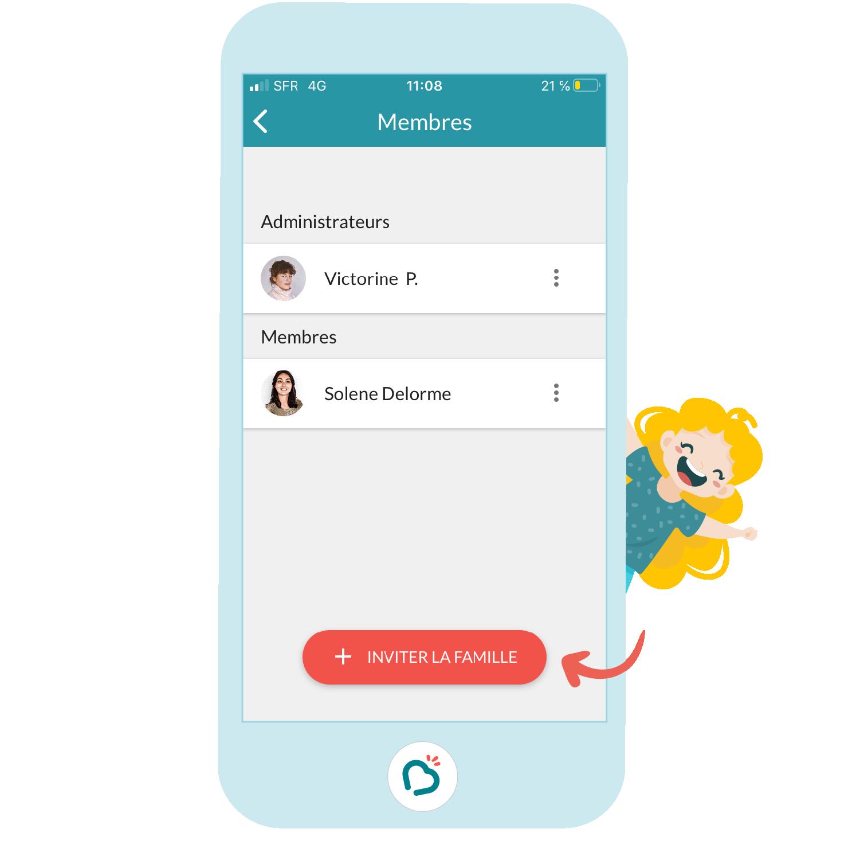 Etape 3 pour inviter la famille sur l'application Bookinou